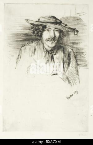 Whistler with a Hat. James McNeill Whistler; American, 1834-1903. Date: 1859. Dimensions: 226 x 151 mm (image/plate); 246 x 170 mm (sheet). Drypoint with light plate tone on thin ivory Japanese paper. Origin: United States. Museum: The Chicago Art Institute. - Stock Photo