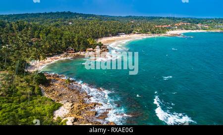 Aerial. Goyambokka beach. Tangalle, Sri Lanka. - Stock Photo