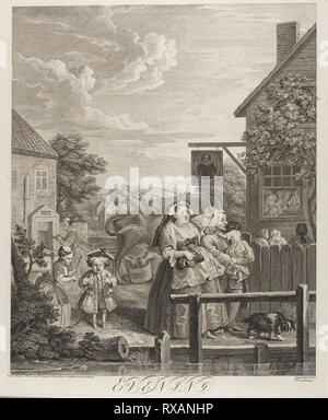 Evening, plate three from The Four Times of the Day. Bernard Baron (French, 1696-1762); after William Hogarth (English, 1697-1764). Date: 1738. Dimensions: 453 × 374 mm (image); 485 × 405 mm (plate); 665 × 500 mm (sheet). Etching and engraving in black on ivory laid paper. Origin: France. Museum: The Chicago Art Institute. - Stock Photo