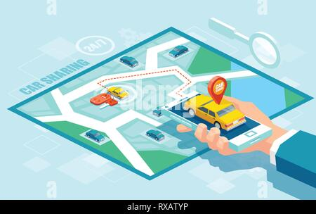 Online taxi oder carpool service app concept. Vector of a hand holding smartphone with yellow cab and GPS route point pins on a map - Stock Photo