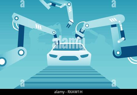 Vector of robotic arms assembling a modern car. Industrial assembly line concept - Stock Photo