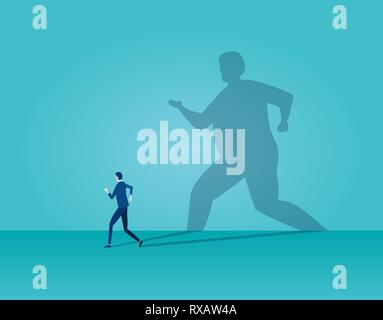 Vector of a business man running away being frightened by his own shadow on blue background - Stock Photo