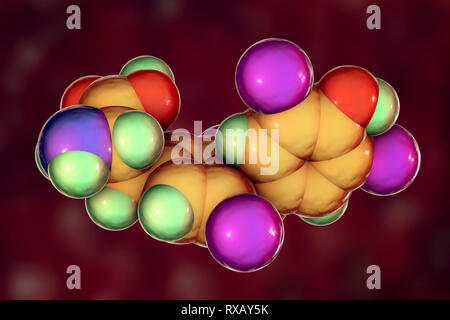 Thyroxine hormone, molecular model - Stock Photo