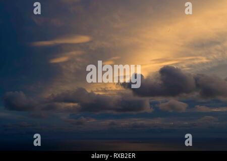 The sunsets over the Pacific Ocean and Mt. Tamalpais State Park can be intense. - Stock Photo