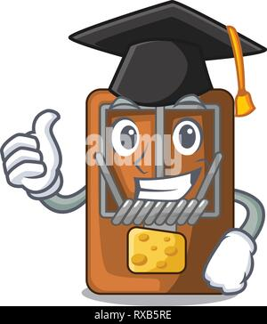 Graduation mousetrap in the shape mascot wood - Stock Photo