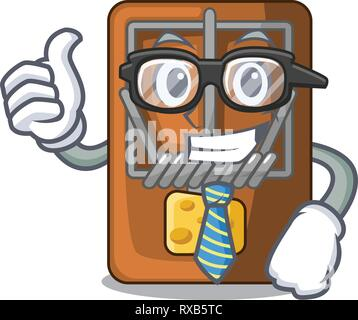 Businessman mousetrap in the shape mascot wood - Stock Photo