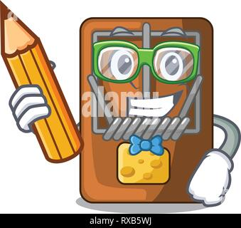 Student mousetrap in the shape mascot wood - Stock Photo