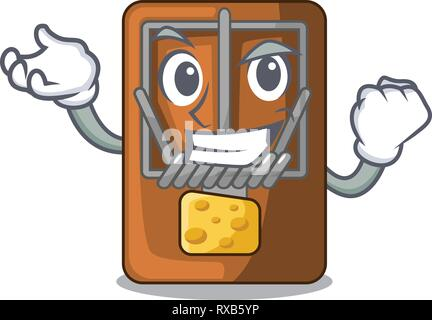 Successful mousetrap in the shape mascot wood - Stock Photo
