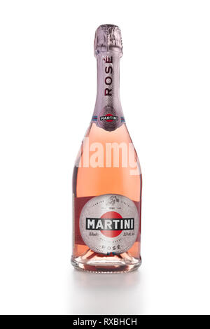 March 7, 2019, Minsk Belarus - Bottle of Martini rose isolated on white - Stock Photo