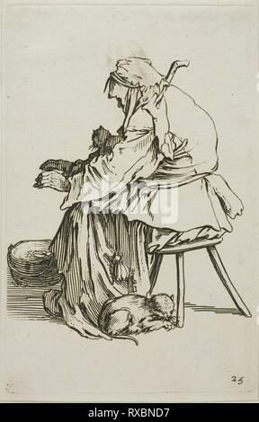 Old Woman with Cats, plate 25 from The Beggars. Jacques Callot; French, 1592-1635. Date: 1617-1627. Dimensions: 137 × 87 mm (plate); 142 × 91 mm (sheet). Etching on paper. Origin: France. Museum: The Chicago Art Institute. - Stock Photo
