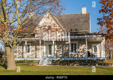 Old 1820 cottage style fieldstone house facade with beige wood plank cladding and white trim plus oak tree in autumn, Quebec, Canada. This image is pr - Stock Photo