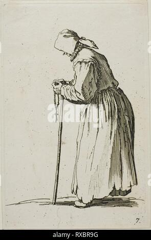 Woman Beggar with a Rosary, plate seven from The Beggars. Jacques Callot; French, 1592-1635. Date: 1617-1627. Dimensions: 138 × 87 mm (plate); 141 × 90 mm (sheet). Etching on paper. Origin: France. Museum: The Chicago Art Institute. - Stock Photo