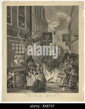 Night, plate four from The Four Times of Day. William Hogarth; English, 1697-1764. Date: 1738. Dimensions: 440 × 366 mm (image); 491 × 407 mm (plate); 510 × 420 mm (sheet). Etching and engraving in black on cream laid paper. Origin: England. Museum: The Chicago Art Institute. - Stock Photo
