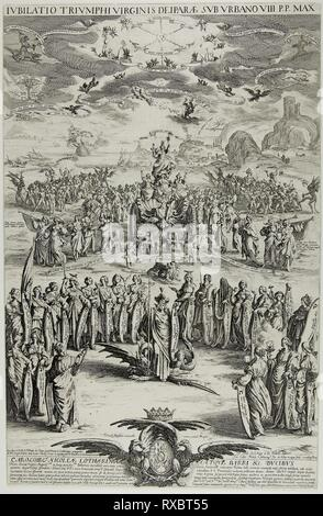 The Triumph of the Virgin. Jacques Callot; French, 1592-1635. Date: 1624. Dimensions: 554 × 357 mm. Etching on paper. Origin: France. Museum: The Chicago Art Institute. - Stock Photo