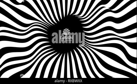 Pattern with optical illusion. Black and white background. Abstract vector illustration. Stock Photo