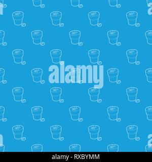 Medical marijuana bottle and tablet pattern vector seamless blue - Stock Photo