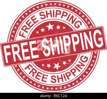 free shipping delivery round red grungy rubber stamp isolated on white - Stock Photo