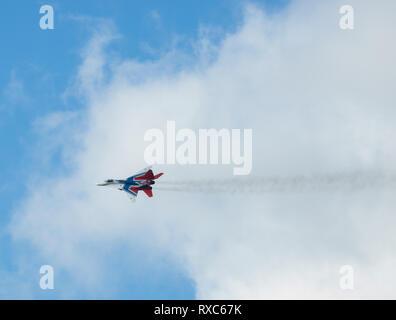 Kazan, Russian Federation - Oktober 27, 2018: member of aerobatic team Strizhi . telephoto shot - Stock Photo