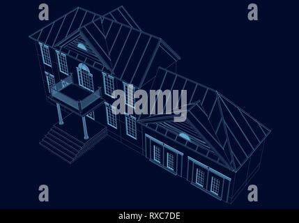 Wireframe of the house of the blue lines on a dark background. 3D Vector illustration - Stock Photo