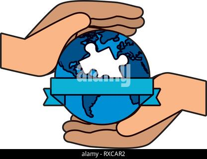 hands protection planet with puzzle solution - Stock Photo