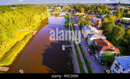 The beautiful sight of the city of Tartu in Estonia. The buildings bridges and lakes can be seen in the city - Stock Photo