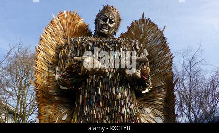 Sculptor Alfie Bradley's Knife Angel on display in Queens Gardens, Hull. The 27ft sculpture made from 100,000 knives was made at the British Ironworks Centre in Shropshire.  Featuring: Atmosphere Where: Hull, United Kingdom When: 06 Feb 2019 Credit: WENN.com - Stock Photo