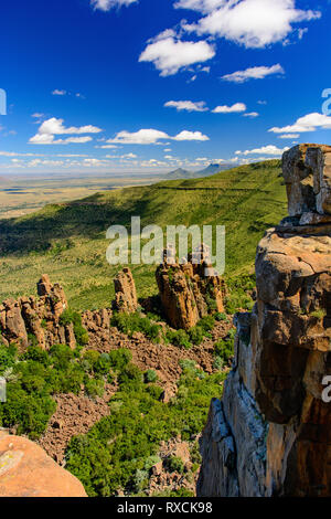 South Africa panorama of Valley of Desolation, Graaff-Reinet, scenic view, bizarre rocks view to the horizon under blue sunny sky with clouds - Stock Photo