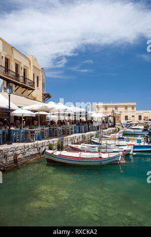 View of the harbour in the old town of Rethymno, known for its Venetian and Ottoman architecture, on the Greek island of Crete. - Stock Photo