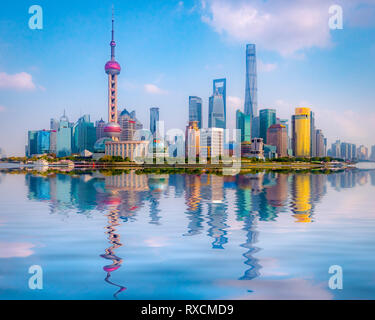 1 December 2018: Shanghai, China - The Huangpu River and the skyline of the Pudong district, Shanghai. - Stock Photo