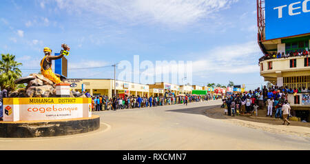 Muhanga, Rwanda, February 26, 2019: People are gathered to watch Tour Du Rwanda cycling race in the city of Muhanga, Rwanda - Stock Photo