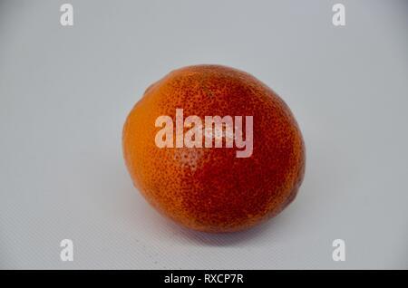 a single blood orange on a white background - Stock Photo