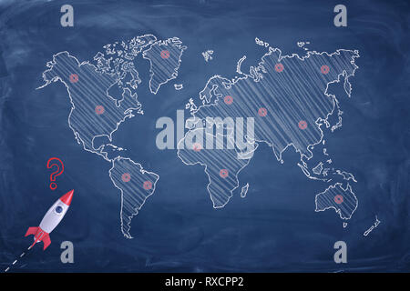3d rendering of a small white and red rocket near a blackboard with an Earth map where several places are marked with red dots. - Stock Photo