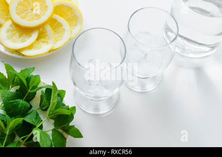 Two glasses full of ice cubes and bottle of water, ready for preparation refreshing and cold drink with fresh green mint and lemon slices. - Stock Photo