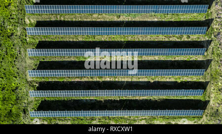 High angle view of solar panels on an energy farm in Madeira island, Portugal