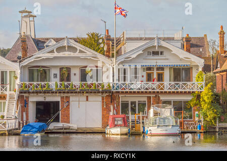 Boathouses On The River,  Henley On Thames, Oxfordshire, UK - Stock Photo