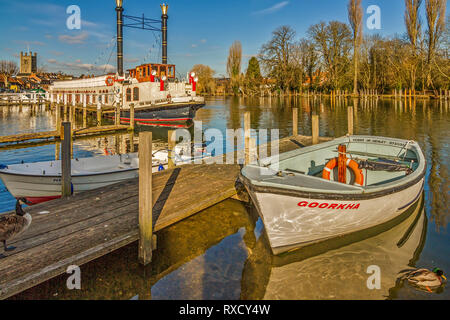 Boats and Paddle Steamer New Orleans, Henley On Thames, UK - Stock Photo