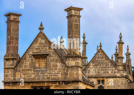 Chimneys In  Chipping Campden, Gloucestershire, England, UK - Stock Photo