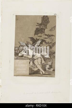 The Sleep of Reason Produces Monsters, plate 43 from Los Caprichos. Francisco José de Goya y Lucientes; Spanish, 1746-1828. Date: 1797-1799. Dimensions: 181 x 122 mm (image); 214 x 151 mm (plate); 301 x 207 mm (sheet). Etching and aquatint on ivory laid paper. Origin: Spain. Museum: The Chicago Art Institute. - Stock Photo