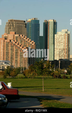 Buildings in Jersey City seen from the Liberty Park, NJ, USA - Stock Photo
