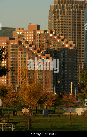 Portside Towers in New Jersey, USA, seen from the Liberty Park - Stock Photo