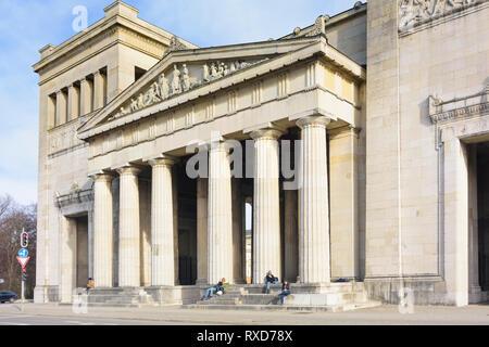 München, Munich: Propyläen at square Königsplatz in Oberbayern, München, Upper Bavaria, Bayern, Bavaria, Germany - Stock Photo