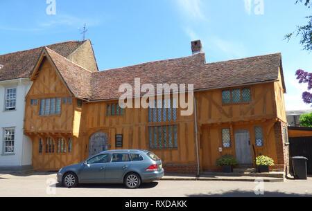 Little Hall Museum, Lavenham. Historic Tudor half-timbered building in Lavenham, Suffolk, UK. Sunny day. - Stock Photo