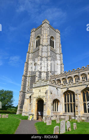 St Peter and St Paul's Church, Parish Church in Lavenham, Suffolk, UK. Sunny day. - Stock Photo