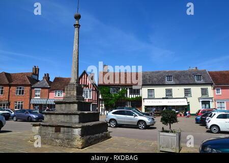 War Memorial, Market Place, Market Lane, Lavenham, Suffolk, UK. Sunny day. - Stock Photo