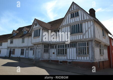 Lavenham Guildhall, Lavenham, Suffolk, UK. Sunny day. - Stock Photo