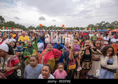 Sydney, Australia 9th, March 2019, Multicultural Australia was on show today at the Africultures Festival held in Wyatt Park, Lidcombe, Sydney. Despite the occasional shower of rain event goers were treated to music and entertainment, colourful market stalls and food from many of the represented nations. Contributor: Stephen Dwyer / Alamy Stock Photo Credit: Stephen Dwyer/Alamy Live News - Stock Photo
