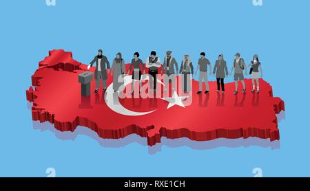 Turkish voters are voting for Turkey election over 3D map. All the objects, shadows and background are in different layers. - Stock Photo