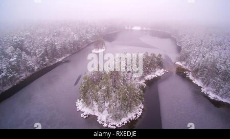 The black and white aerial shot of the Viitna lake. Viitna is a village in Kadrina Parish Laane-Viru County in northern Estonia. - Stock Photo