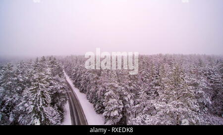 Aerial shot of the forest and the road covered in thick white snow - Stock Photo