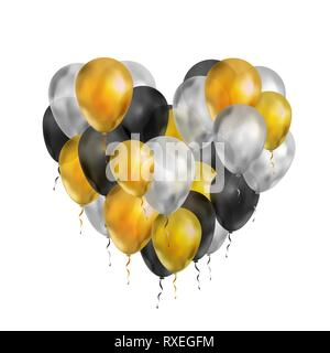 A lot of luxury balloons in gold, silver and black colours in heart shape isolated on white - Stock Photo